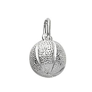 Pendentif en argent ballon de basket - Vue 1