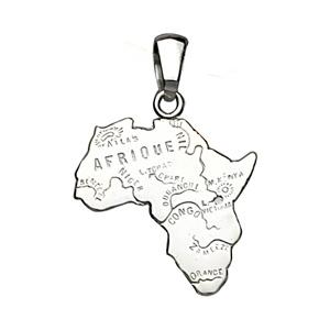 Pendentif en argent carte d\'Afrique petit modèle - Vue 1