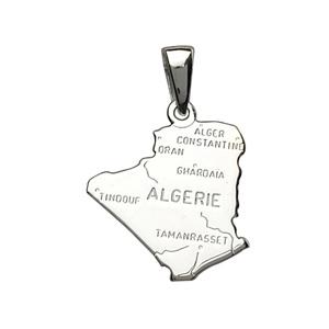 Pendentif en argent carte d\'Algérie - Vue 1