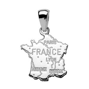 Pendentif en argent carte de France - Vue 1