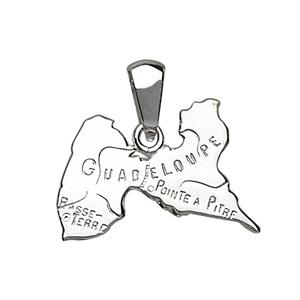 Pendentif en argent carte de Guadeloupe - Vue 1