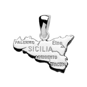 Pendentif en argent carte de la Sicile - Vue 1