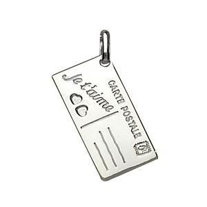 Pendentif en argent carte postale gravée \