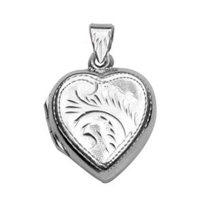 Pendentif en argent cassolette coeur ouvragé - possibilité d\'insérer 1 ou 2 photos droite et gauche - Vue 1