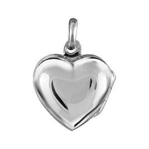 Pendentif en argent cassolette petit coeur lisse - possibilité d\'insérer 1 ou 2 photos droite et gauche - Vue 1