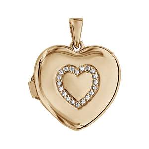 Pendentif en argent et dorure jaune cassolette coeur avec coeur en oxydes blancs sertis sur le dessus - dimension 20mm - possibilité d\'insérer 1 ou 2 photos droite et gauche - Vue 1