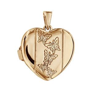 Pendentif en argent et dorure jaune cassolette coeur avec gravure papillons sur 1 bande au milieu - possibilité d\'insérer 1 ou 2 photos droite et gauche - Vue 1
