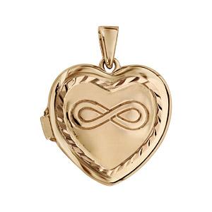 Pendentif en argent et dorure jaune cassolette coeur avec symbole infini gravé sur le dessus - dimension 20mm - possibilité d'insérer 1 ou 2 photos droite et gauche
