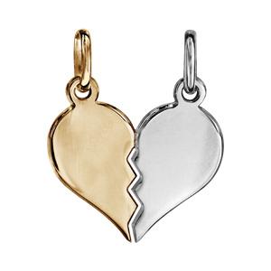 Pendentif en argent et dorure jaune coeur à partager, moitié gris et l'autre moitié jaune