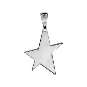 Pendentif en argent étoile à graver petit modèle - plaque prestige - Vue 1