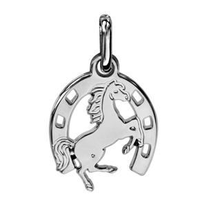 Pendentif en argent fer à cheval avec cheval cabré au milieu - Vue 1