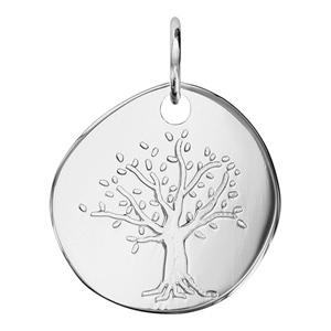 Pendentif en argent galet avec arbre de vie gravé - Vue 1