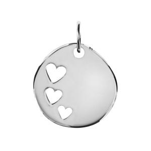 Pendentif en argent galet avec 3 coeurs découpés - Vue 1