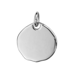 Pendentif en argent galet à graver petit modèle - plaque prestige - Vue 1