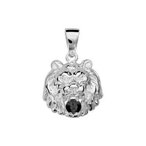 Pendentif en argent lion avec oxyde noir entre les dents petit modèle