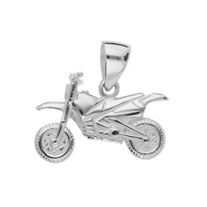 Pendentif en argent moto cross