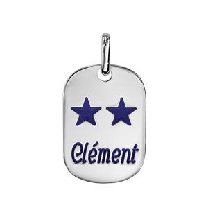 Pendentif en argent plaque G.I. avec pans arrondis moyen modèle 18mm X 25,7mm - Champions du monde 2 étoiles avec gravure prénom - Vue 1
