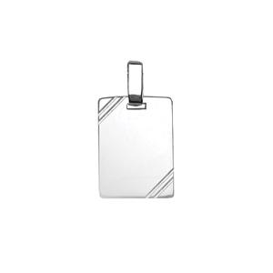 Pendentif en argent plaque G.I. rectangulaire à graver avec striures dans 2 angles - dimensions 15mm X 20mm - plaque prestige - Vue 1