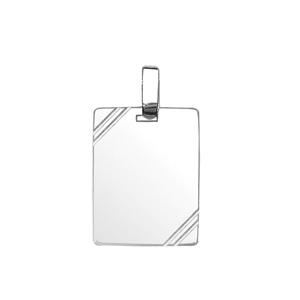 Pendentif en argent plaque G.I. rectangulaire à graver avec striures dans 2 angles - dimensions 19mm X 25mm - plaque prestige - Vue 1