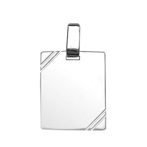Pendentif en argent plaque G.I. rectangulaire à graver avec striures dans 2 angles - dimensions 29mm X 23mm - plaque prestige - Vue 1