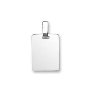 Pendentif en argent plaque G.I. rectangulaire à graver - dimensions 15mm X 20mm - plaque prestige - Vue 1