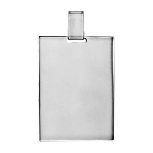 Pendentif en argent plaque G.I. rectangulaire à graver - dimensions 39mm X 29mm - plaque prestige - Vue 1