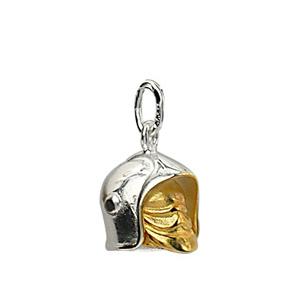 Pendentif en argent rhodié casque de pompier avec visière amovible petit modèle - Vue 1