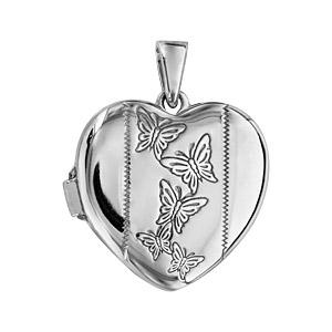 Pendentif en argent rhodié cassolette coeur avec gravure papillons sur 1 bande au milieu - possibilité d\'insérer 1 ou 2 photos droite et gauche - Vue 1