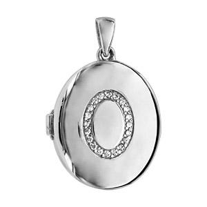 Pendentif en argent rhodié cassolette ovale avec ovale en oxydes blancs sertis sur le dessus - dimension 20mm - possibilité d\'insérer 1 ou 2 photos droite et gauche - Vue 1