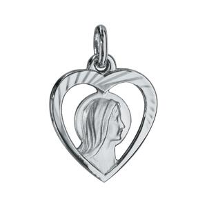 Pendentif en argent rhodié coeur avec vierge - Vue 1