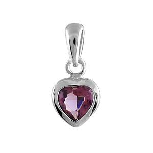 Pendentif en argent rhodié coeur en oxyde violet serti clos - Vue 1