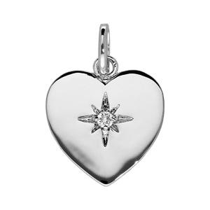 Pendentif en argent rhodié coeur lisse avec étoile en oxyde blanc serti - Vue 1