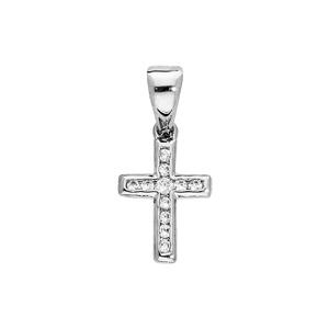 Pendentif en argent rhodié Croix avec oxydes blancs sertis petit modèle - Vue 1
