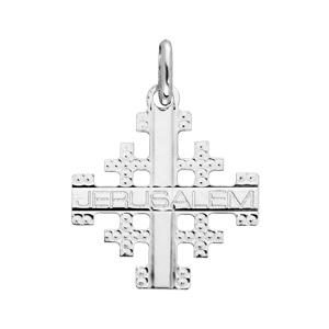 Pendentif en argent rhodié Croix de Jérusalem - Vue 1