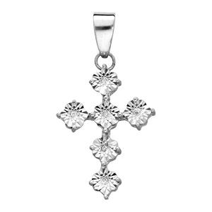 Pendentif en argent rhodié Croix diamantée avec oxydes blancs sertis - Vue 1