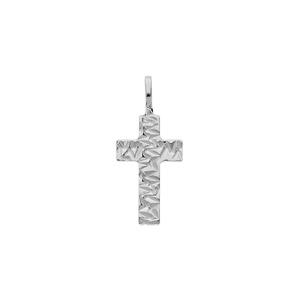 Pendentif en argent rhodié croix froissée - Vue 1