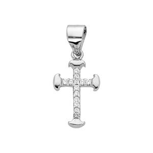 Pendentif en argent rhodié Croix petit modèle avec oxydes blancs sertis - Vue 1