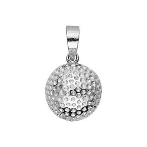 Pendentif en argent rhodié en forme de balle de golf - Vue 1