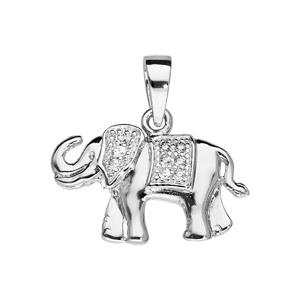 Pendentif en argent rhodié en forme d\'elephant avec oxydes blancs sertis - Vue 1