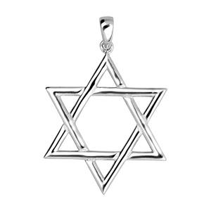 Pendentif en argent rhodié étoile de David - Vue 1