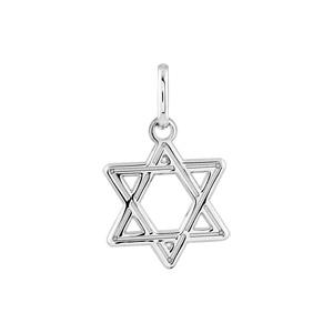 Pendentif en argent rhodié étoile de David en fil - Vue 1