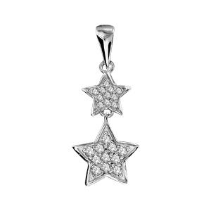 Pendentif en argent rhodié 2 étoiles suspendues pavées d'oxydes blancs