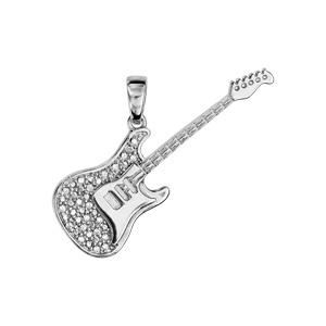 Pendentif en argent rhodié guitare rock avec oxydes blancs sertis - longueur 35mm - Vue 1