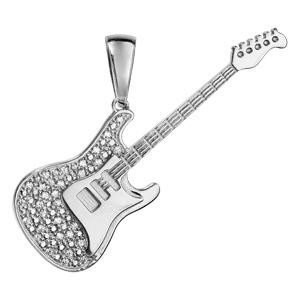 Pendentif en argent rhodié guitare rock avec oxydes blancs sertis - longueur 50mm - Vue 1