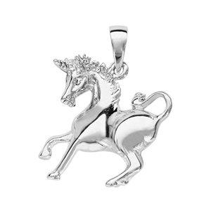 Pendentif en argent rhodié licorne - Vue 1