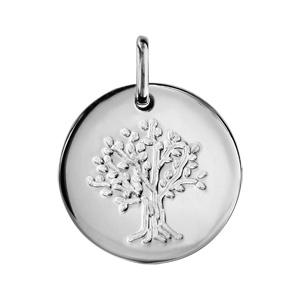 Pendentif en argent rhodié médaille avec arbre de vie gravé - diamètre 15mm