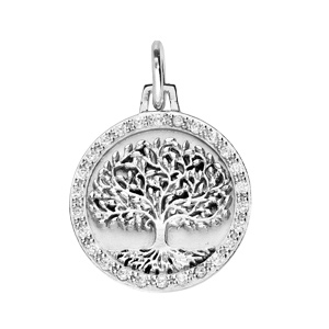 Pendentif en argent rhodié médaille de 16mm avec arbre de vie et oxydes blancs - Vue 1