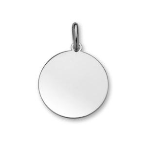 Pendentif en argent rhodié médaille à graver grand modèle diamètre 24mm - plaque fine - Vue 1