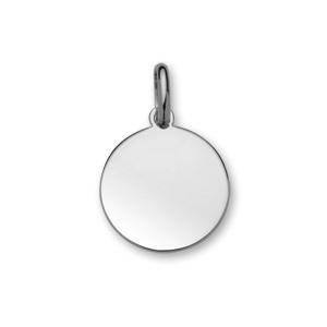 Pendentif en argent rhodié médaille à graver moyen modèle diamètre 20mm - plaque fine - Vue 1