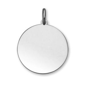 Pendentif en argent rhodié médaille à graver très grand modèle diamètre 30mm - plaque fine - Vue 1